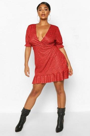 Red Plus Dalmatian Wrap Ruffle Tea Dress