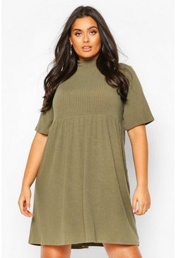 Khaki Plus High Neck Rib Knit Smock Dress