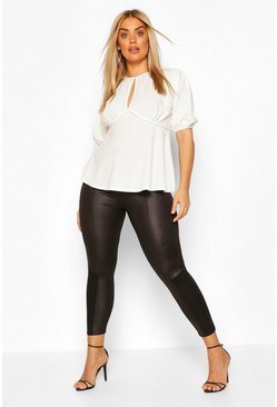 Black Plus PU Ponte Insert Legging