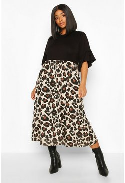Black Plus Leopard Contrast Smock Midi Dress