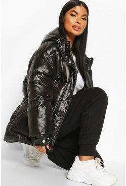Black Petite Hooded Belted Puffer Jacket