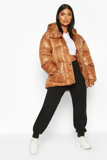 Brown Petite Hooded Belted Puffer Jacket