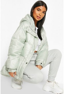 Sage Petite Hooded Belted Puffer Jacket