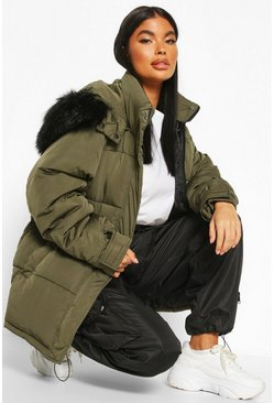 Khaki Petite Faux Fur Hooded Puffer Jacket
