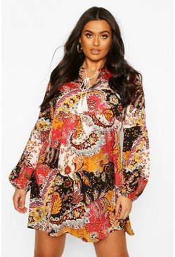Mustard Plus Paisley Tassell Longsleeve Smock Dress