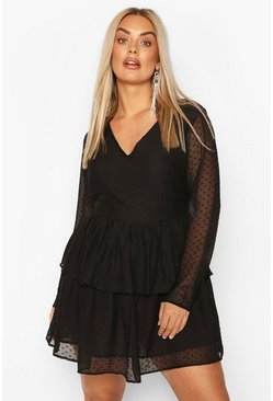 Black Plus Dobby Mesh Ruffle Tiered Skater Dress