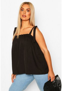 Black Plus Tie Shoulder Cami Top