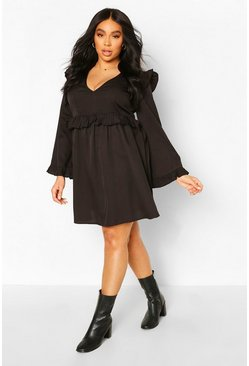 Black Plus Woven Ruffle Wide Sleeve Skater Dress