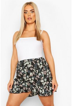 Black Plus Oriental Floral Ruffle Flippy Short