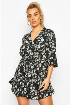 Black Plus Oriental Floral Wrap Belted Romper