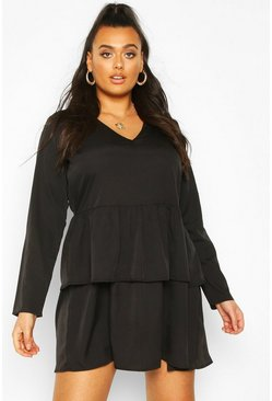 Black Plus Woven Tiered Shirt Dress
