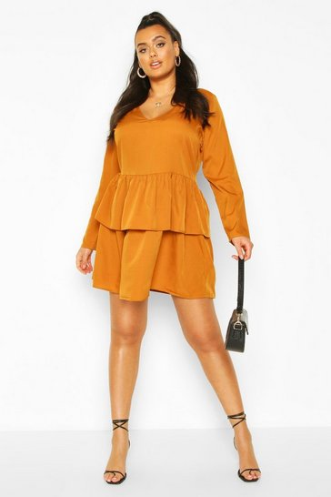 Mustard Plus Woven Tiered Shirt Dress