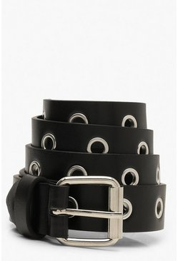 Black Plus All Over Eyelet Boyfriend Belt