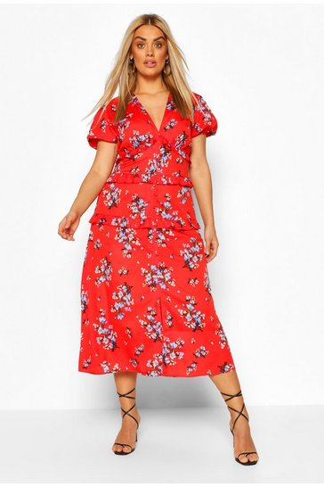 Red Plus Floral Ruffle Midaxi Dress