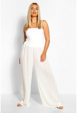 Ivory Plus Cheesecloth Wide Leg Trouser