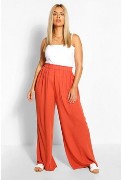 Rust Plus Cheesecloth Wide Leg Trouser