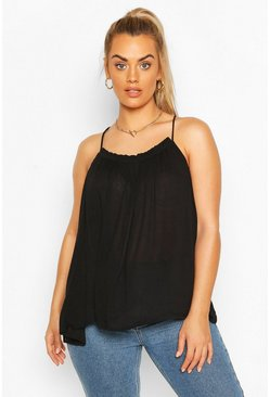 Black Plus Cheesecloth Ruffle Swing Cami