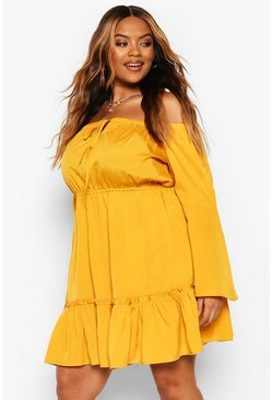 Mustard Plus Off The Shoulder Mini Dress
