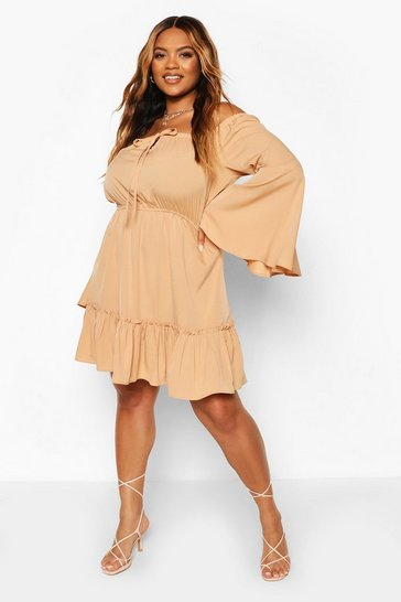 Sand Plus Off The Shoulder Mini Dress