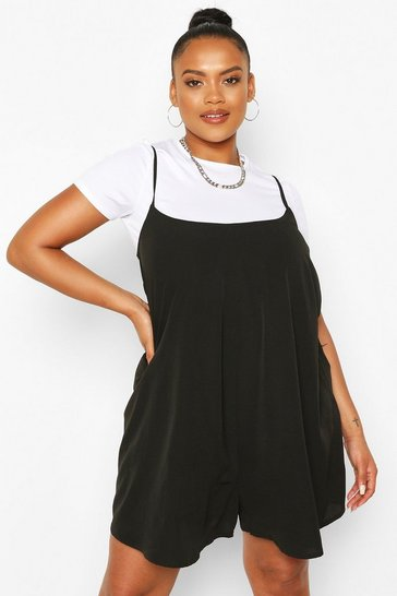 Black Plus Cami Style Swing Playsuit