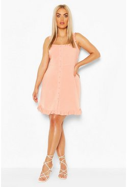 Peach Plus Ruffle Hem Sun Dress