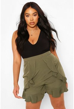 Khaki Plus Ruffle Front Short
