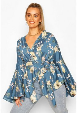 Blue Plus Extreme Wide Sleeve Wrap Top