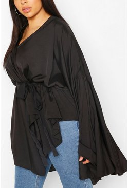 Black Plus Extreme Flare Sleeve Wrap Top