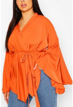 Spice Plus Extreme Flare Sleeve Wrap Top