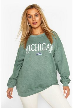 Teal Plus Michigan Slogan Oversized Sweat