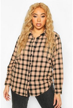 Blush Plus Soft Check Oversized Shirt