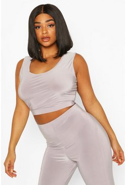 Light grey Plus Gym Crop Top