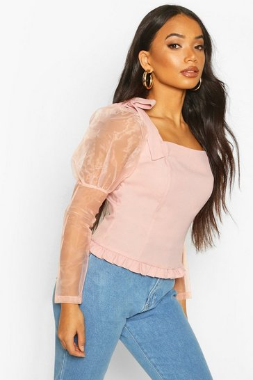Blush Petite Volume Sleeve Bow Detail Blouse