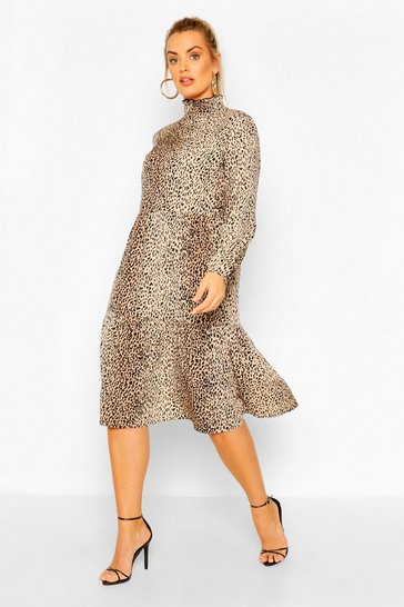 Brown Plus Animal Print Smock Midi Dress