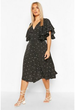 Black Plus Mix Polka Dot Ruffle Midi Dress