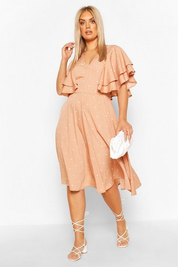 Mocha Plus Mix Polka Dot Ruffle Midi Dress