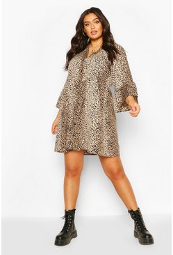 Brown Plus Animal Mid Sleeve Shirt Dress