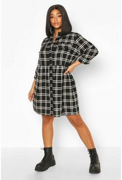Black Plus Checked Shirt Dress