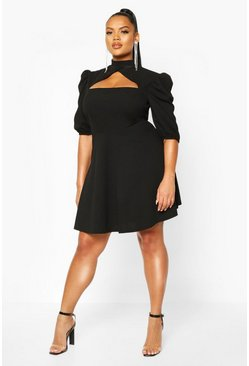Black Plus Choker Cut Off Puff Sleeve Peplum Dress