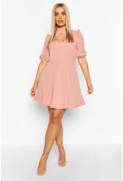 Blush Plus Choker Cut Off Puff Sleeve Peplum Dress