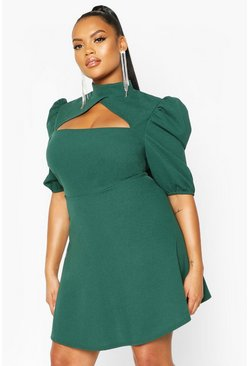 Bottle green Plus Choker Cut Off Puff Sleeve Peplum Dress
