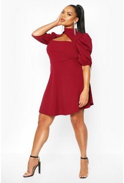 Wine Plus Choker Cut Off Puff Sleeve Peplum Dress