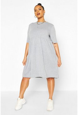 Grey Plus Jersey Smock Dress