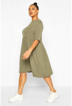 Khaki Plus Jersey Smock Dress