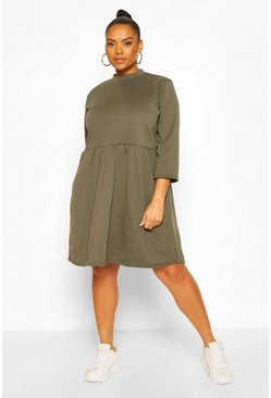 Khaki Plus Sweat Smock Dress