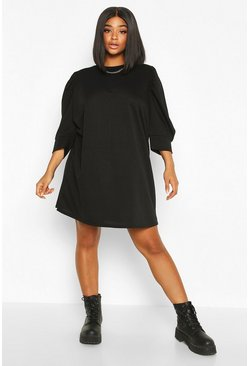 Black Plus Puff Sleeve Sweat Dress