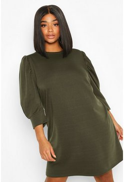 Khaki Plus Puff Sleeve Sweat Dress
