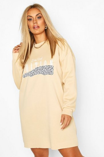 Stone Plus Leopard Oversized Sweat Dress