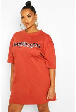 Terracotta Plus Slogan T-Shirt Dress