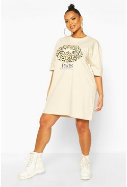 Stone Plus Paris Slogan T-Shirt Dress